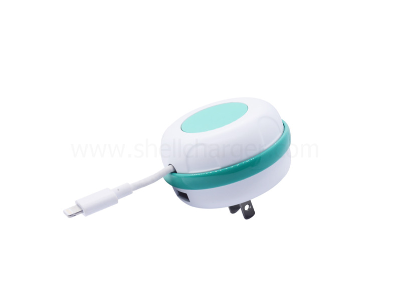 3.4A,Retractable Cable USB Travel Charger with CE approved,S-TR-121